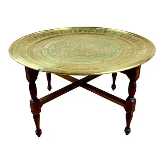 Anglo-Indian Round Brass Tray Coffee Table on Folding Wooden Base For Sale