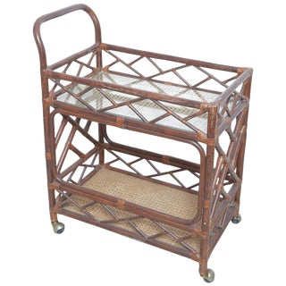 Vintage Island Style Chippendale Bamboo Bar Cart For Sale