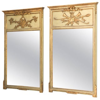"Pair of ""His and Hers"" Trumeau Mirrors For Sale"