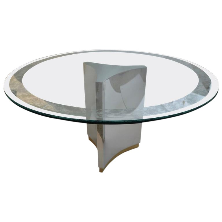 Mastercraft Round Dining Table In Polished Steel Brass And Etched