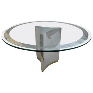 Mastercraft Round Dining Table in Polished Steel, Brass and Etched Glass For Sale