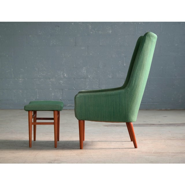 Danish Modern Danish 1950's Green Easy Chair With Footstool by Jacob Kjaer For Sale - Image 3 of 12