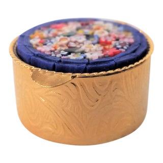 Italian Micro-Mosaic Floral Pill Box, Blue & Gold For Sale