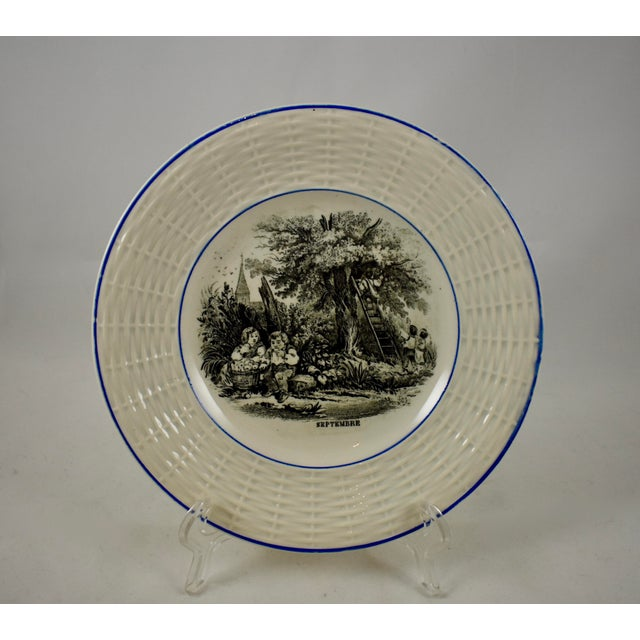 Late 20th Century Digoin Sarreguemines French Transferware 'Mois De L'année' Plates, S/12 For Sale - Image 5 of 11