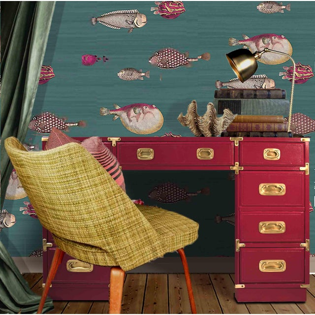 We love this eye-popping mid-century campaign partner desk by Drexel from their Et Cetera Collection It's fresh out of our...