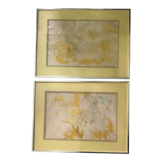 """1970's Original """"Fish and Birds"""" Pencil & Watercolor Framed Prints - a Pair For Sale"""