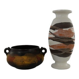 Royal Haeger Earth Wrap Pottery Vase and Double Handled Bowl
