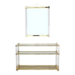 Lucite and Brass Console Table and Matching Mirror For Sale
