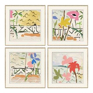 Portico, Posey, Porch, Coastal Framed Art Prints - Set of 4 For Sale