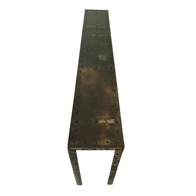 French 20th Century Industrial Riveted Console For Sale - Image 3 of 10