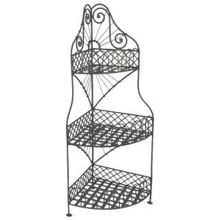 Early 20th Century Spanish Looking Iron Corner Three-Tier Shelf For Sale