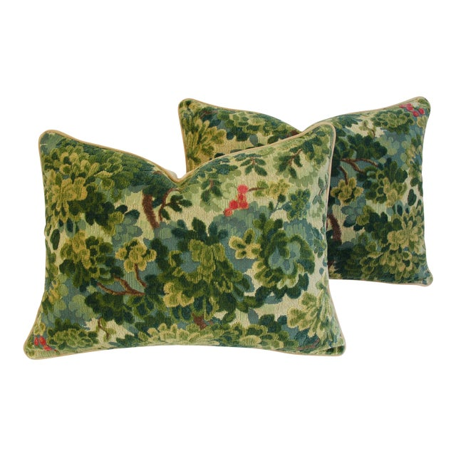 Custom-Tailored Scalamandre Velvet Marly Pillows - Pair - Image 1 of 11
