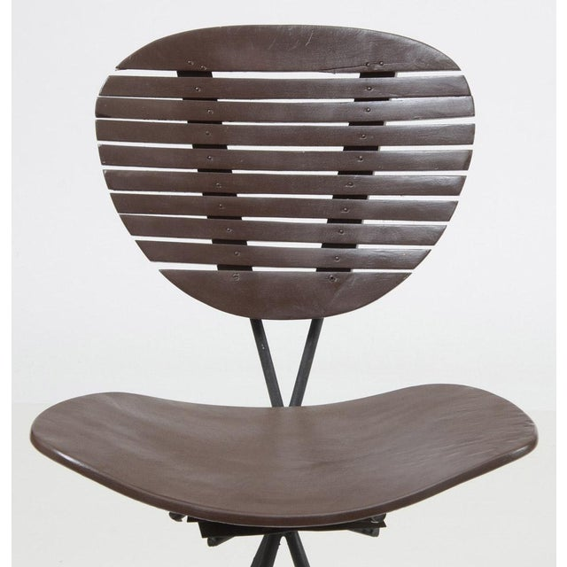 Metal Mid-Century Modern Wood and Wrought Iron Bar Stools - Set of 3 For Sale - Image 7 of 12