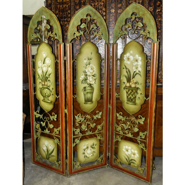 Asian Painted Metal Room Divider/ Floor Screen or Queen Size Headboard For Sale - Image 3 of 13