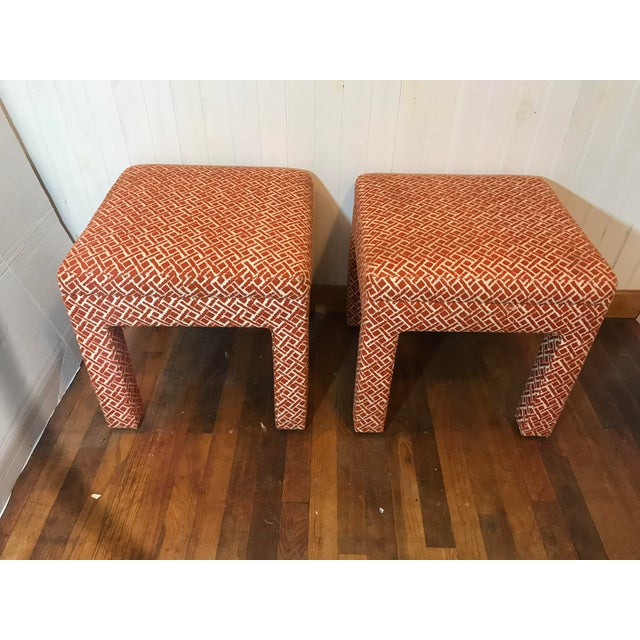 Danish Modern Vintage Mid Century Modern Print Fabric Matched Ottomans Pair For Sale - Image 3 of 9