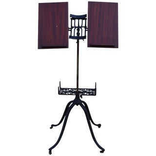 1930s Mahogany and Cast Iron Adjustable Library Book Stand For Sale