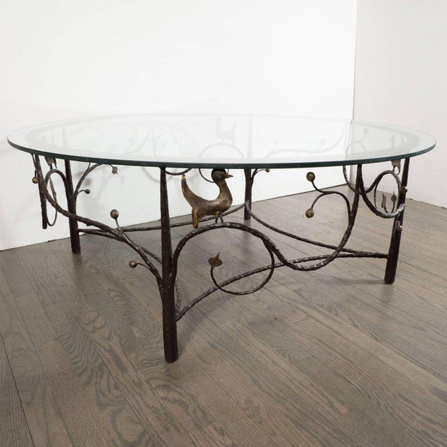 Midcentury Scrolling Bronze Coffee Table with Flora and Fauna Motifs For Sale - Image 9 of 10