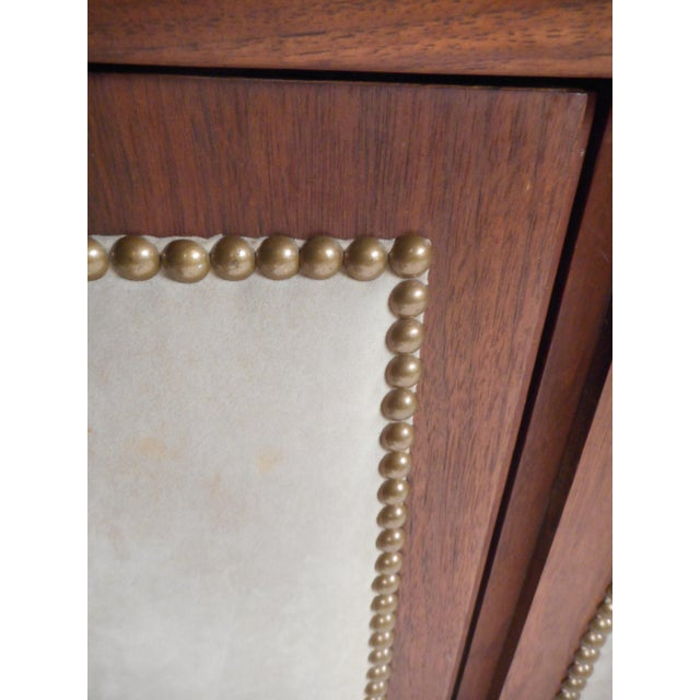 White Vintage Modern Walnut Credenza With an Upholstered Front For Sale - Image 8 of 11
