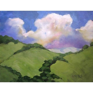 Los Virgenes Hills California Clouds Landscape Oil Painting Lynne French 11x14 For Sale