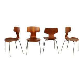 Arne Jacobsen for Fritz Hansen Model 3103 Hammer T Chairs Set of Four For Sale