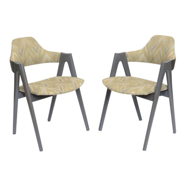 Scissor Design Vintage Sidechairs in Zigzag Fabric For Sale