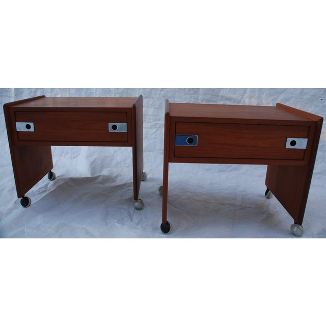 Mid Century Teak Night Stands - A Pair - Image 2 of 8