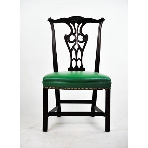 Green Vinyl Upholstered Chippendale Dining Chairs - Set of 6 - Image 3 of 10