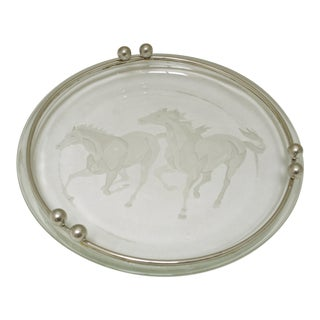 Glass Cigar Ashtray With Galloping Horses Design For Sale