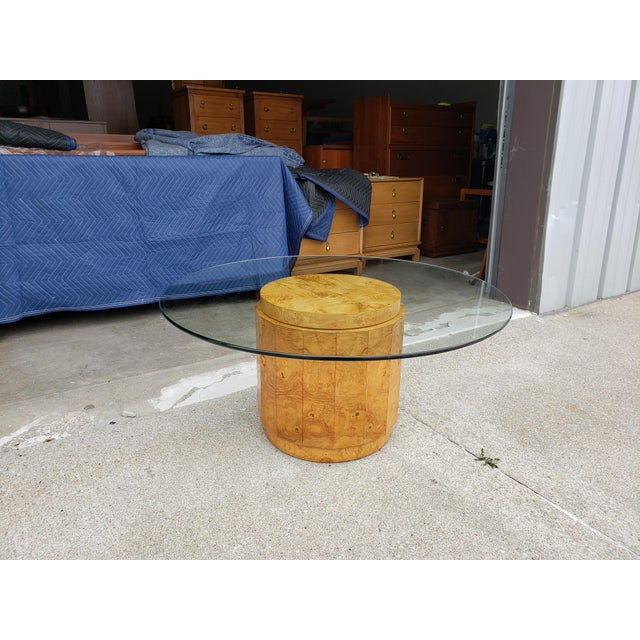 Mid-Century Modern 1960's Vintage Dunbar Edward Wormley Burled Olive Pedestal Coffee Table For Sale - Image 3 of 10