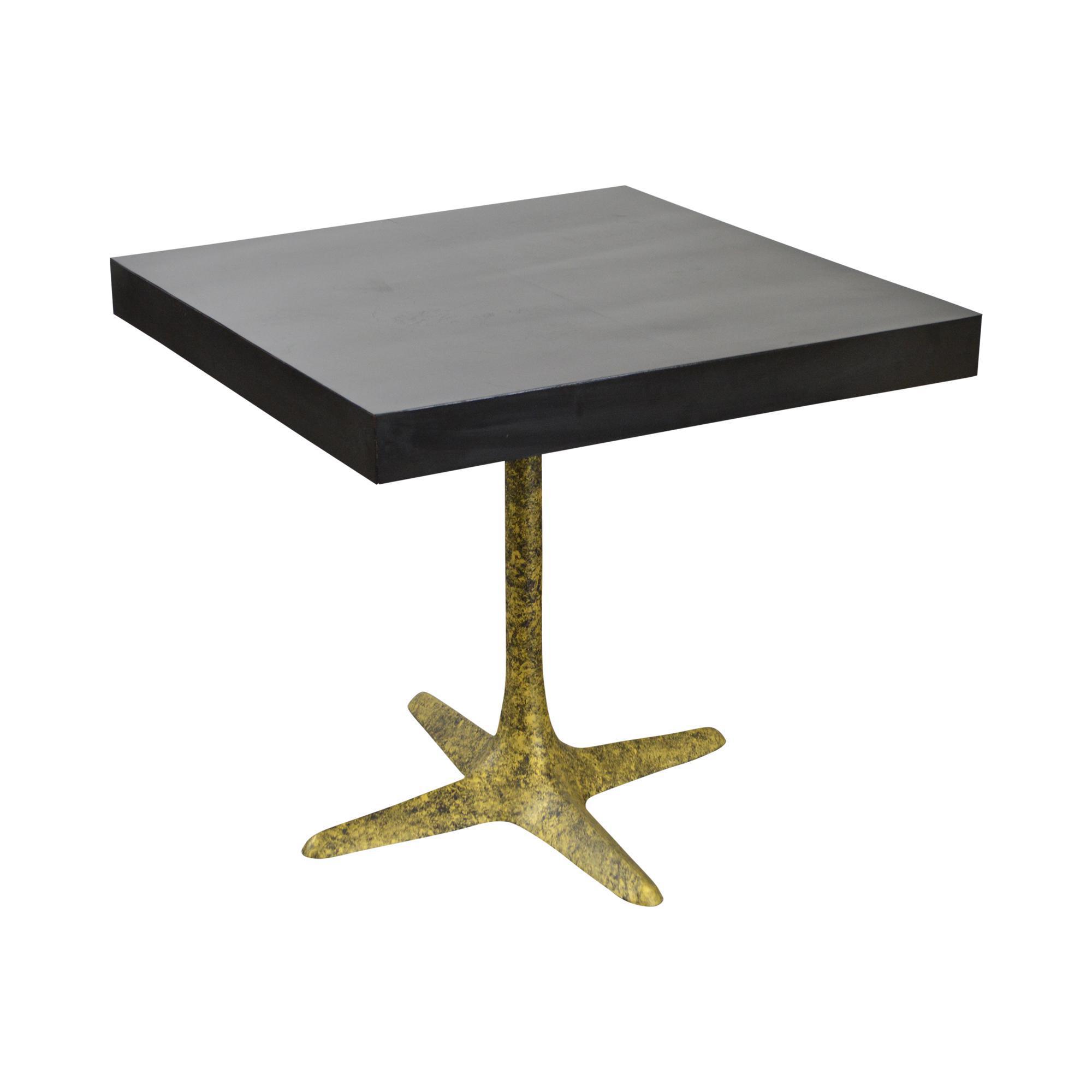 Mid Century Modern Square Top Faux Painted Metal Pedestal Café Table