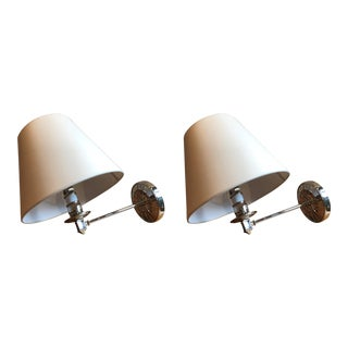 Alexa Hampton Ida Mirrored Wall Sconces in Polished Nickel & Natural Paper Shades - a Pair