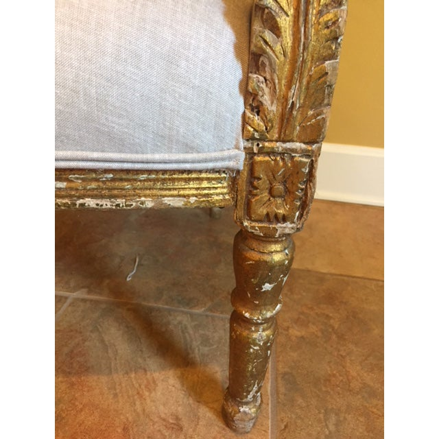 19th Century French Carved Gilt Arm Chairs - a Pair For Sale - Image 11 of 13