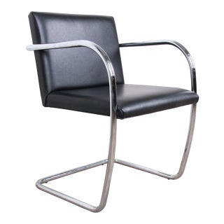 Mies Van Der Rohe Black Leather and Chrome Brno Chair, Four Available For Sale