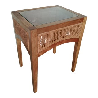 Valencia Side Table, Beige, Rattan For Sale