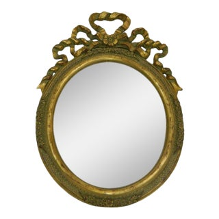 Italian Hand-Carved Gold Leaf Oval Vanity Mirror, 20th Century For Sale