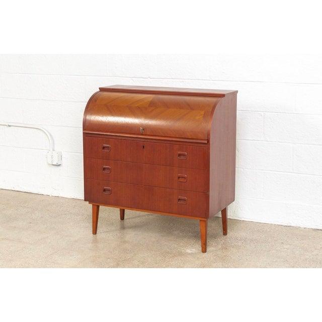Contemporary Mid Century Swedish Egon Ostergaard Rolltop Secretary Desk For Sale - Image 3 of 11