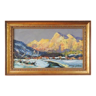 Impressionist Mountain Landscape & Cabins in Winter Painting For Sale