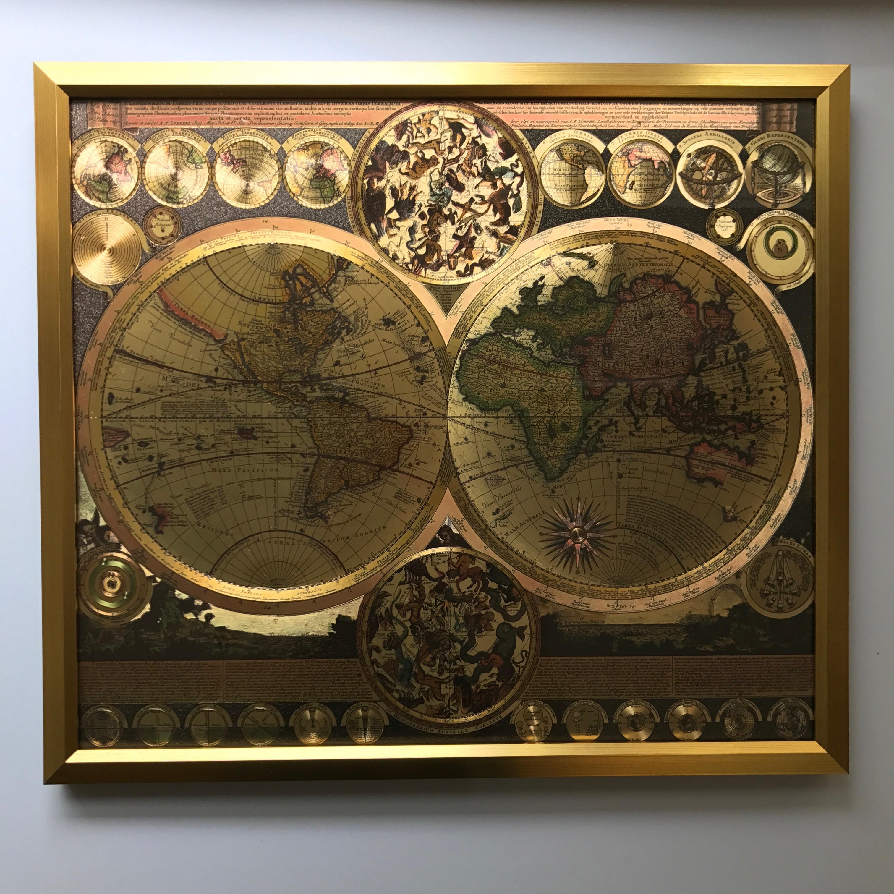 Gold Foil World Map Framed.Framed Gold Foil World Map Print Chairish