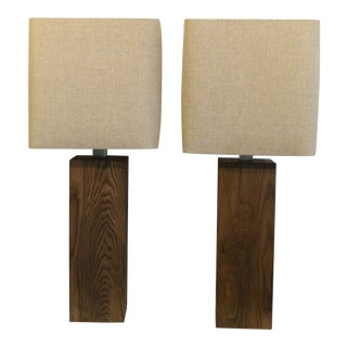 Mid Century Modern Walnut Tale Lamp With Shades - a Pair For Sale