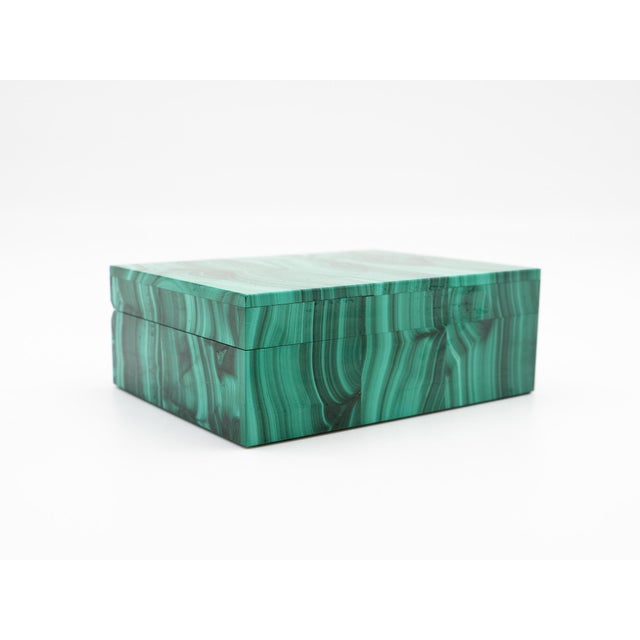 """Malachite semi-precious stone box with hinged lid, 3.5"""" x 4.25"""" x 1.75"""" H. The malachite for these boxes was sourced from..."""