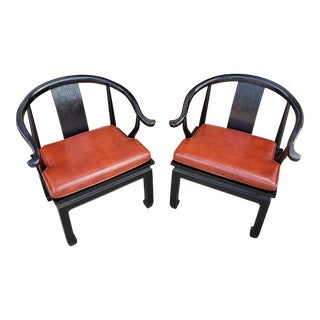 1970s Vintage Century Furniture Ming Style Lacquered Chairs - a Pair For Sale