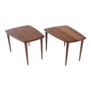 Scandinavian Modern Solid Teak Tables Designed by Peter Hvidt - A Pair For Sale