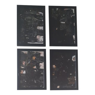 Modern Black Paintings by Lad, Set of 4 For Sale