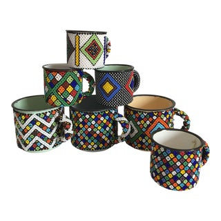 African Beaded Cups - Set of 7