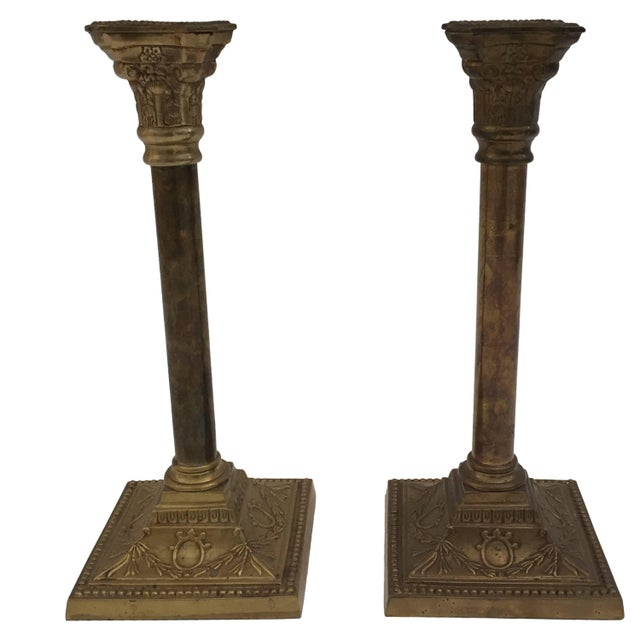 Pair of Brass Candlesticks For Sale - Image 10 of 10