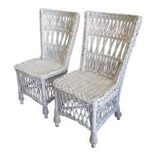 Antique White Wicker Chairs - a Pair For Sale