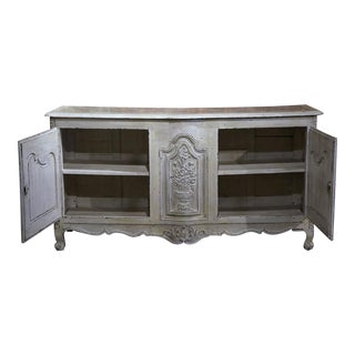 18th Century French Louis XV Carved Painted Buffet