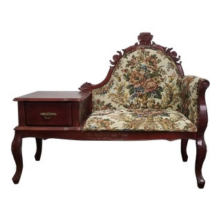 Vintage Victorian Style Gossip Telephone Bench Settee For Sale