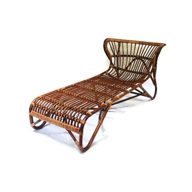 Brown Mid Century Modern Franco Albini Chaise Lounge Sculpted Bamboo Daybed For Sale - Image 8 of 12