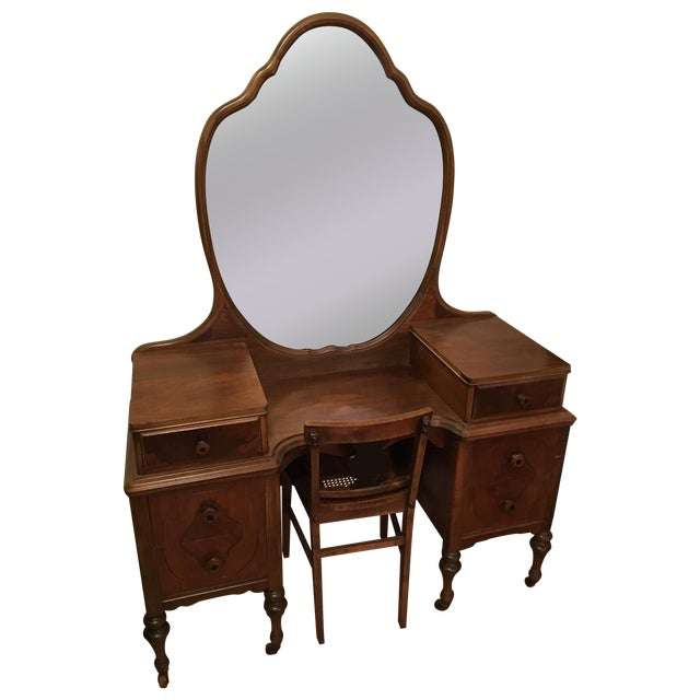 Restored Antique Vanity with Matching Chair - Image 1 of 3